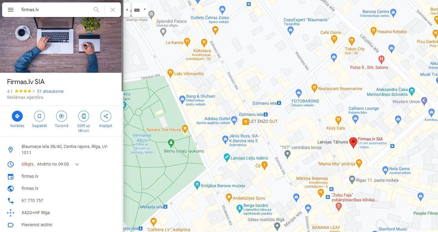 firmas.lv profils Google My Business kategorijas